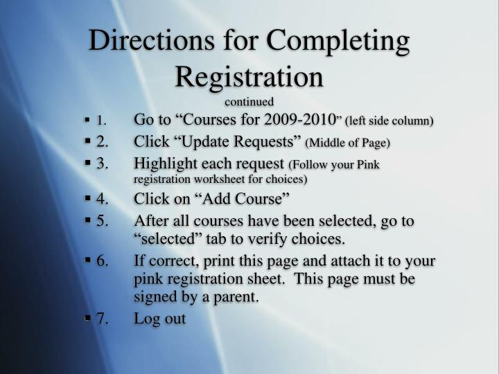 Directions for Completing Registration