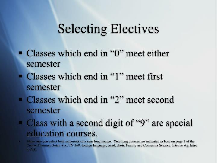 Selecting Electives
