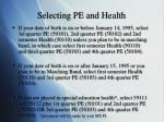 selecting pe and health