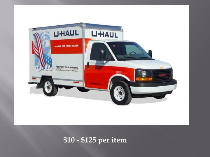 $10 - $125 per item