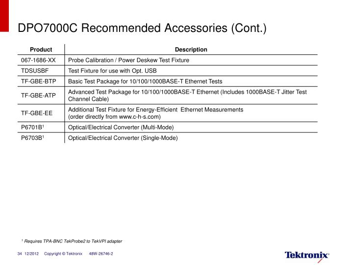 DPO7000C Recommended Accessories (Cont.)