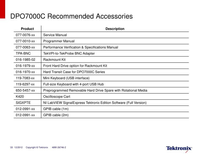 DPO7000C Recommended Accessories