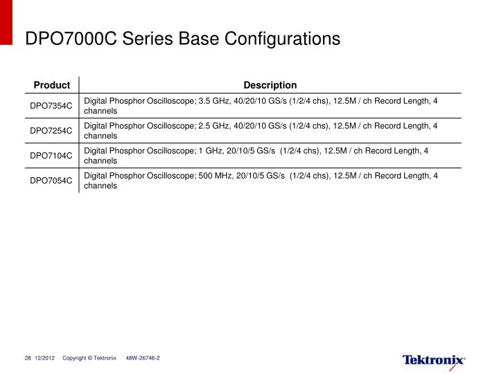 DPO7000C Series Base Configurations