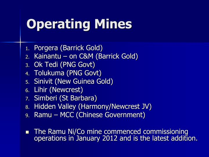 Operating Mines