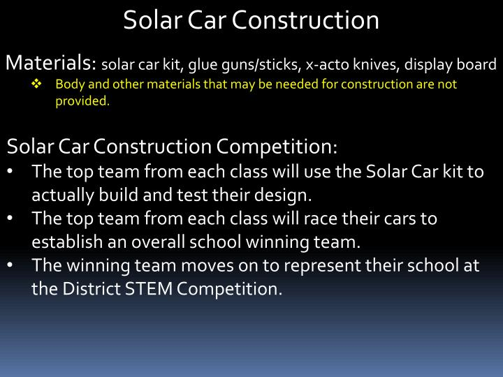 Solar Car Construction