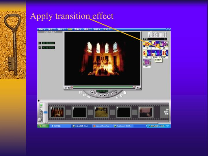 Apply transition effect