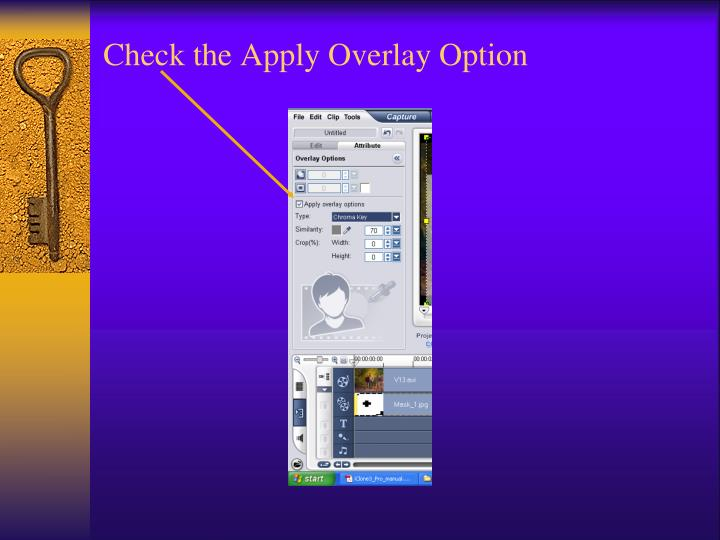 Check the Apply Overlay Option