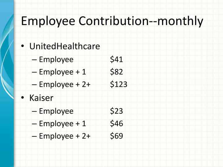 Employee Contribution--monthly