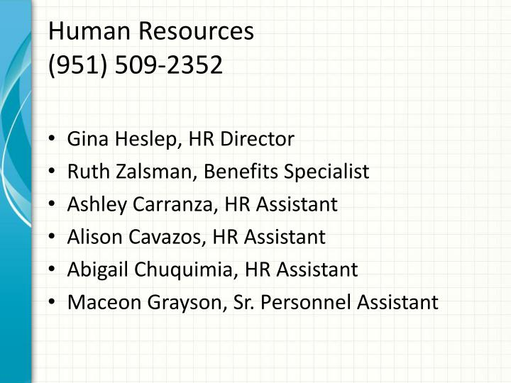 Human resources 951 509 2352