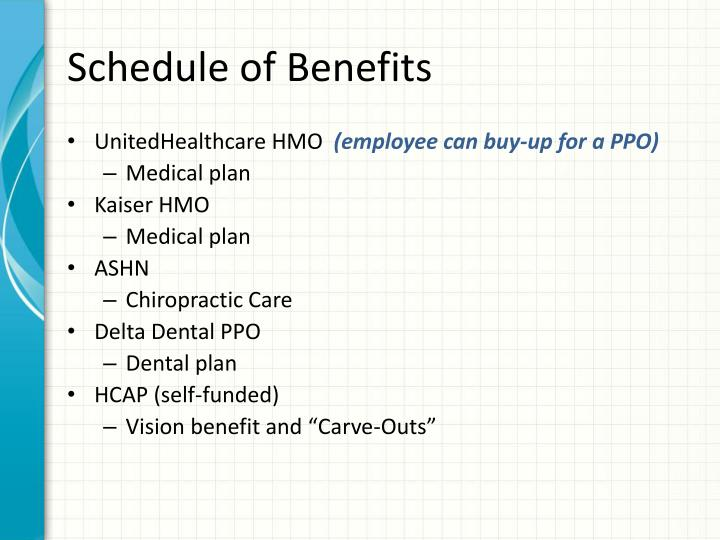 Schedule of Benefits