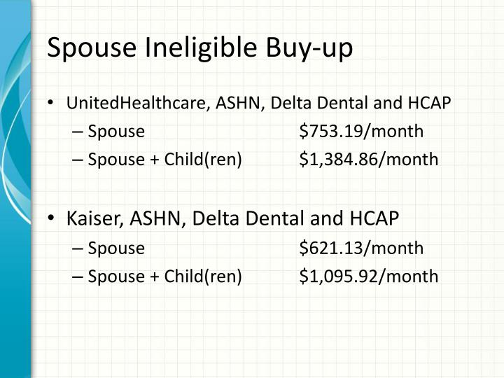 Spouse Ineligible Buy-up