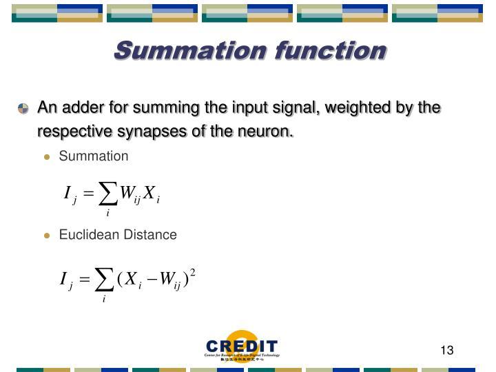 Summation function