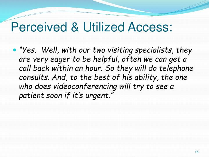 Perceived & Utilized Access: