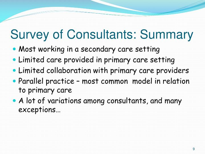 Survey of Consultants: Summary