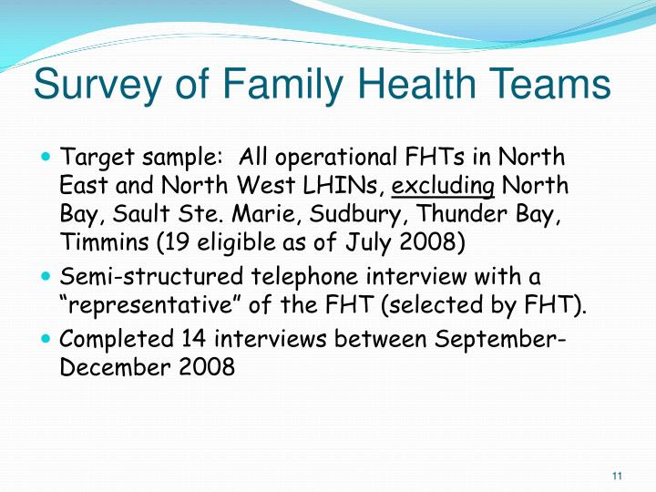 Survey of Family Health Teams