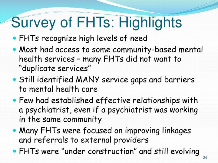 Survey of FHTs: Highlights