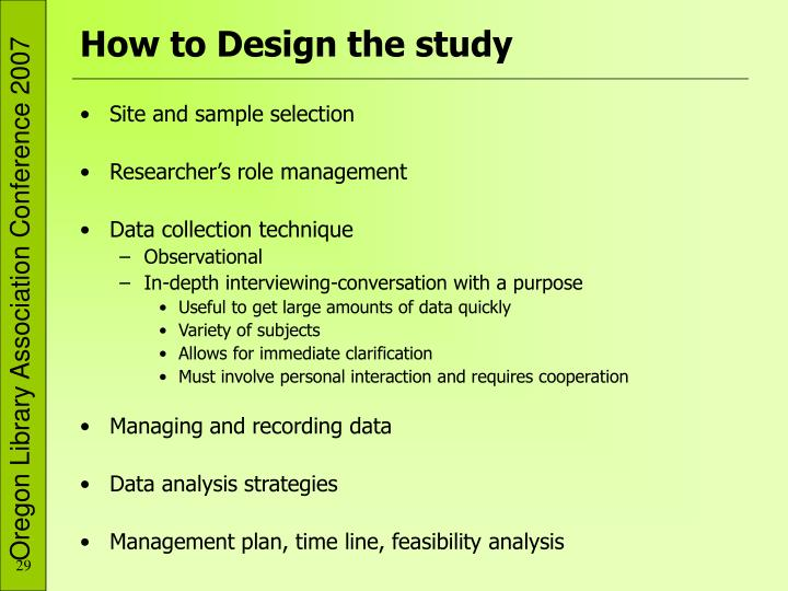 How to Design the study