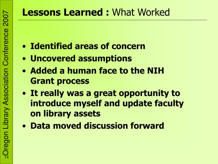 Lessons Learned :