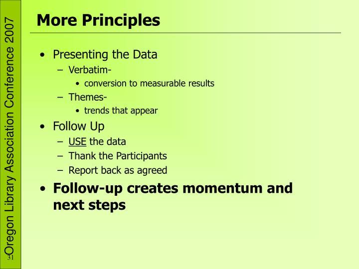 More Principles