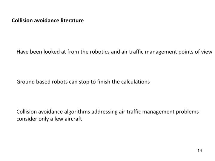 Collision avoidance literature