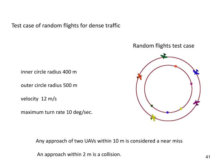 Test case of random flights for dense traffic