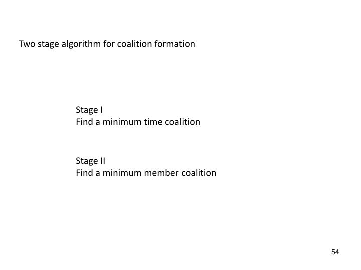 Two stage algorithm for coalition formation
