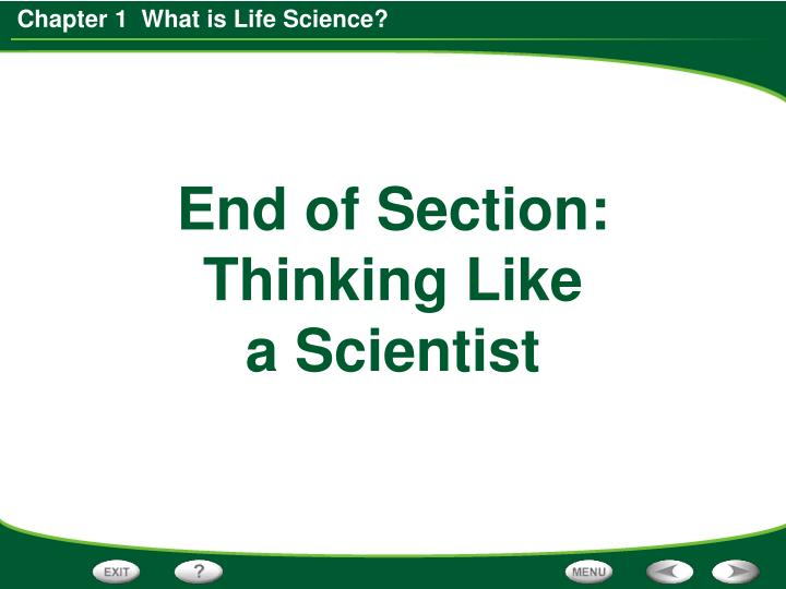 End of Section: Thinking Like