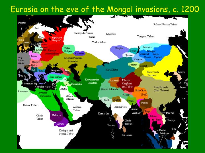 Eurasia on the eve of the Mongol invasions, c. 1200