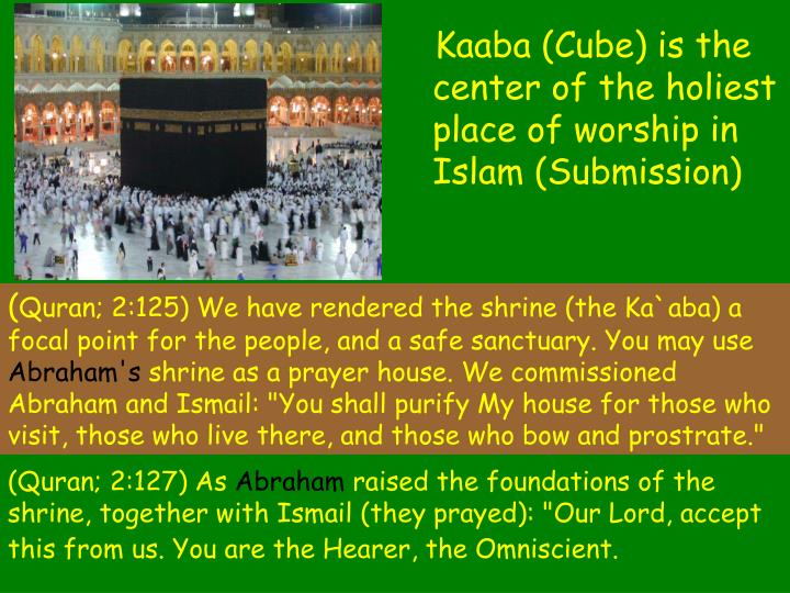 Kaaba (Cube) is the center of the holiest place of worship in Islam (Submission)