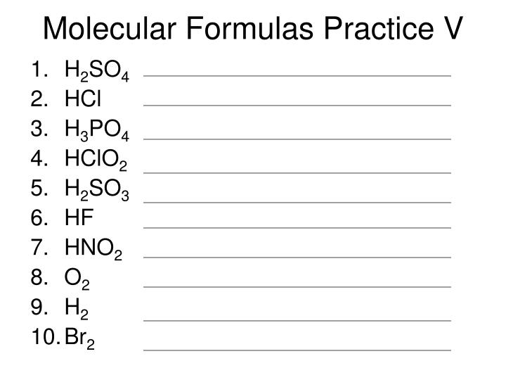 Molecular Formulas Practice V