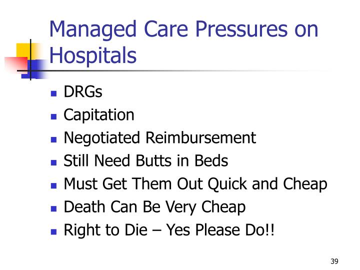 Managed Care Pressures on Hospitals
