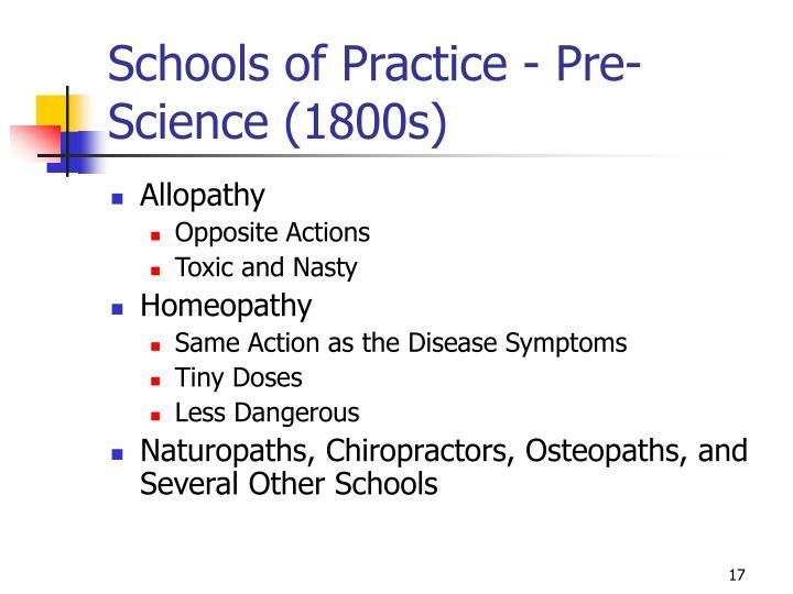 Schools of Practice - Pre-Science (1800s)