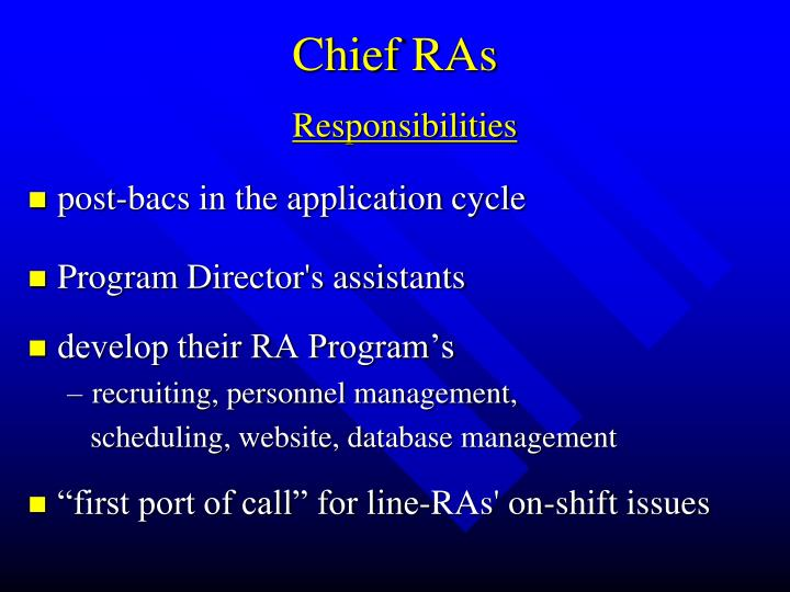 Chief RAs
