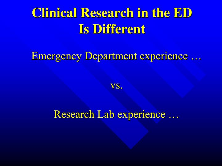 Clinical Research in the ED