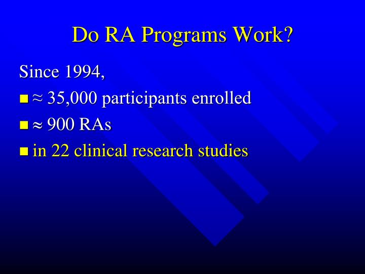 Do RA Programs Work?