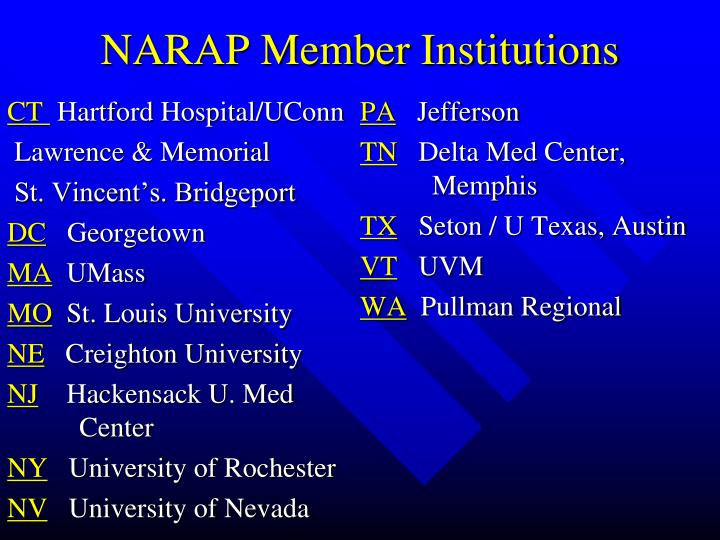 NARAP Member Institutions