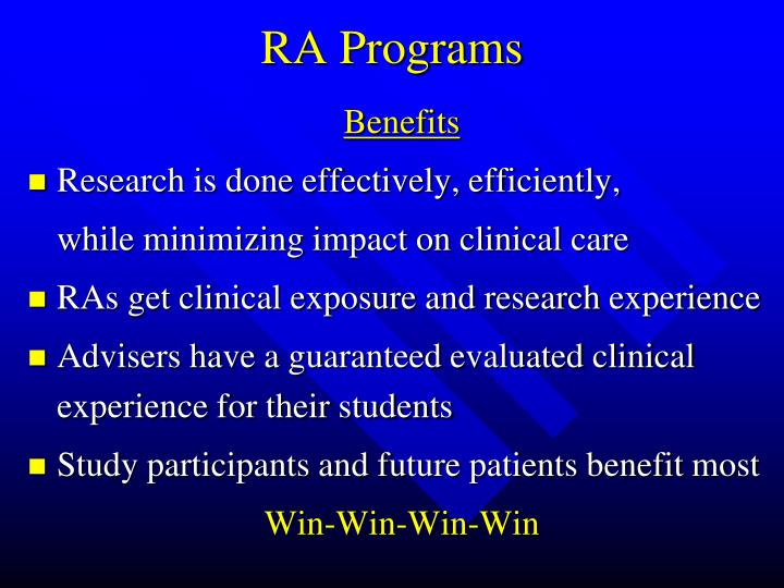 RA Programs