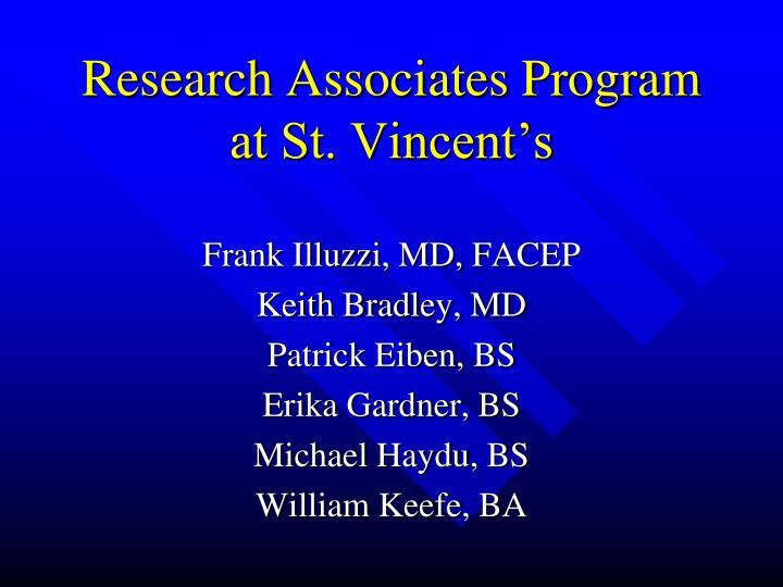 Research associates program at st vincent s