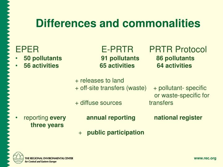 Differences and commonalities