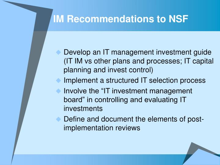 IM Recommendations to NSF