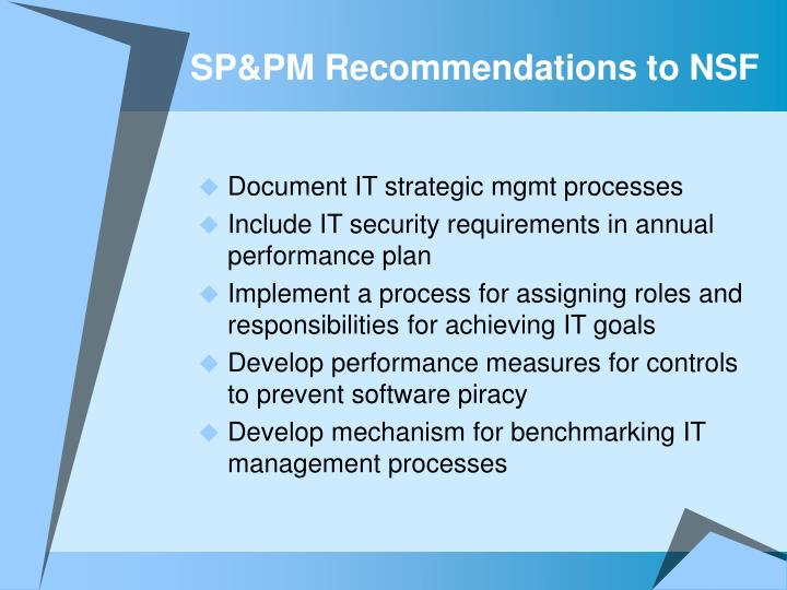 SP&PM Recommendations to NSF
