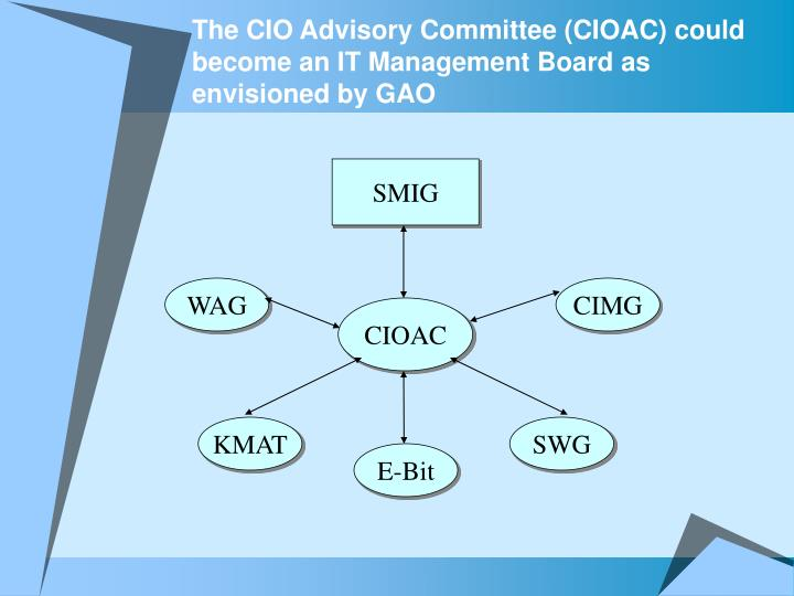 The CIO Advisory Committee (CIOAC) could become an IT Management Board as envisioned by GAO
