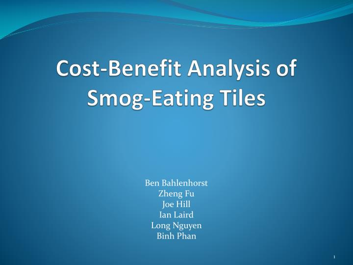 Cost benefit analysis of smog eating tiles