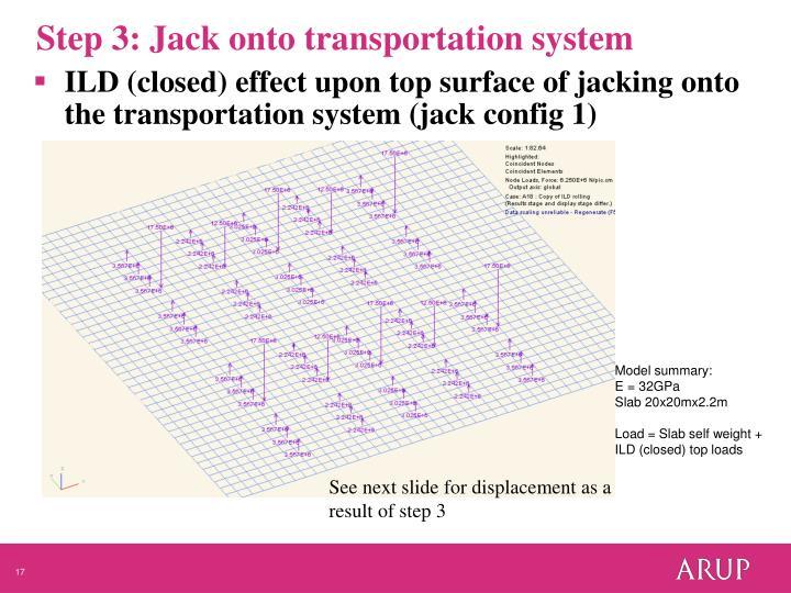 Step 3: Jack onto transportation system