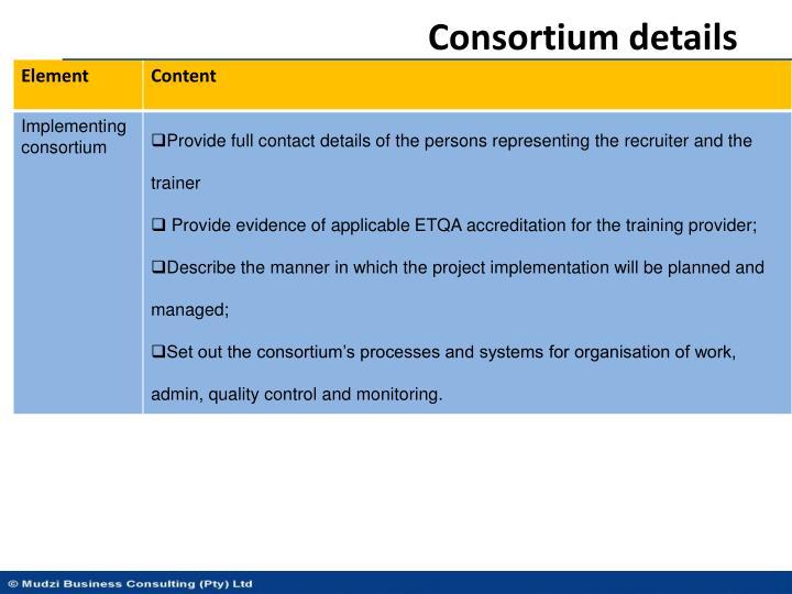 Consortium details