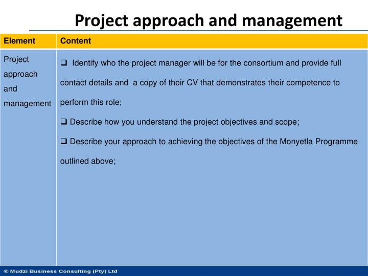 Project approach and management