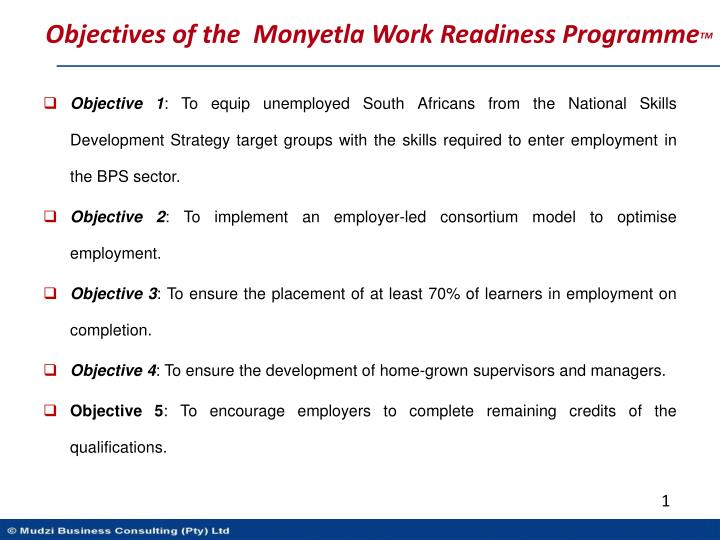 Objectives of the  Monyetla Work Readiness Programme