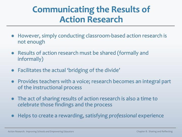 Communicating the results of action research1