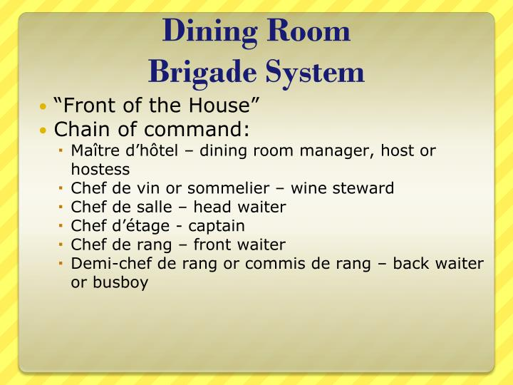 Definition Of Dining Room Manager Ppt Kitchen Brigade System Powerpoint Presentation Id