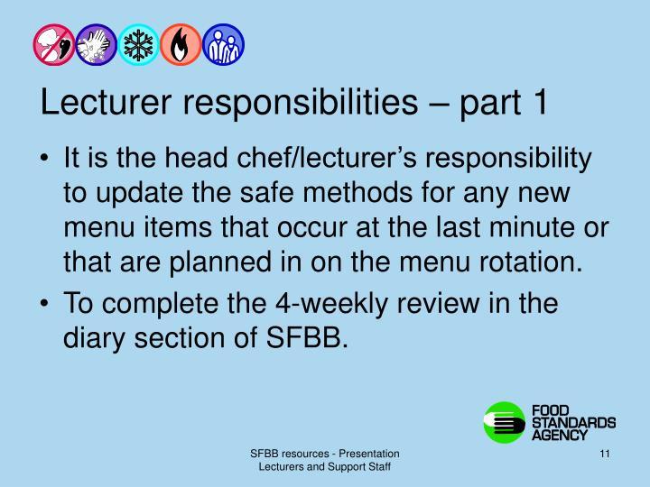 Lecturer responsibilities – part 1